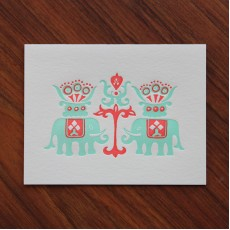 Batik Elephants Note Card