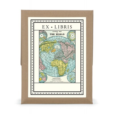 World Map Bookplates