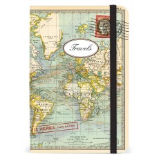 World Map Par Avion Small Travel Notebook with Elastic Band