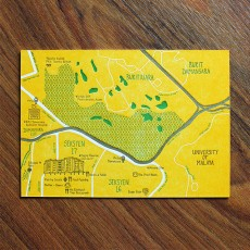 PJ Map Letterpress Postcard (Design B)