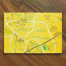 PJ Map Letterpress Postcard (Design C)