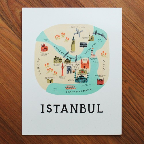 Istanbul Illustrated Art Print 11x14 In
