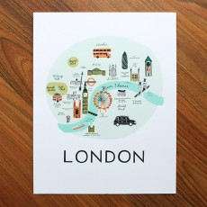 London Illustrated Art Print (11x14 in)