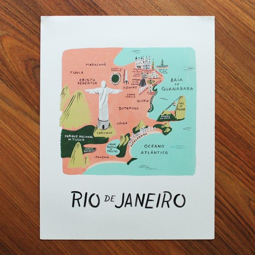 Rio De Janeiro Illustrated Art Print 11x14 In