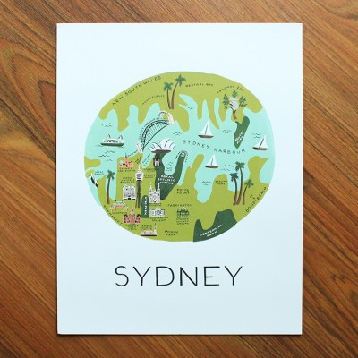 Sydney Illustrated Art Print (11x14 in)