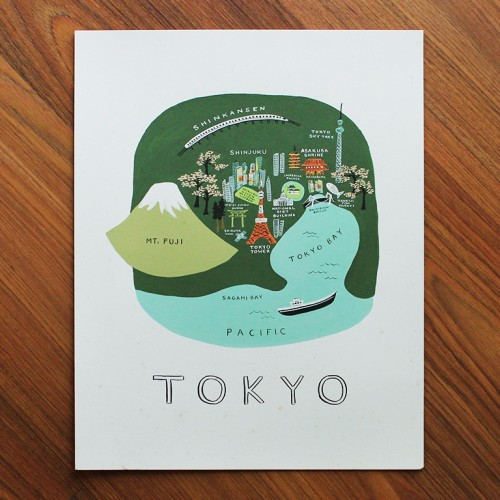 Tokyo Illustrated Art Print 11x14 In