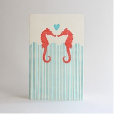 Seahorse Anniversary Letterpress Card