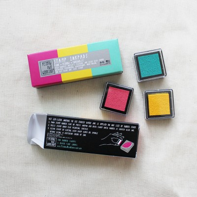 Small Ink Pad Set - Pink, Yellow, Turquoise