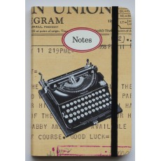 Vintage Typewriter Small Notebook with Elastic Band