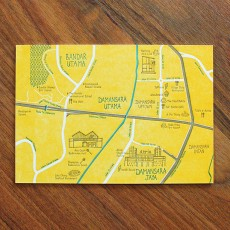 PJ Map Letterpress Postcard (Design A)