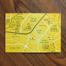 PJ Map Letterpress Postcard (Design D)