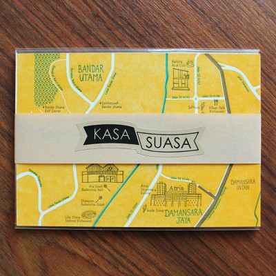 PJ Map Letterpress Postcard - Set of 4