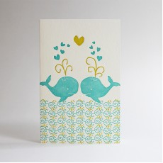 Love Whales Letterpress Card
