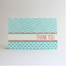 Sorbet Stripes Letterpress Thank You Card